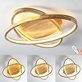LED Deckenleuchte Holz Deckenlampe Ø52cm Runde Dimmbar mit Fernbedienung 2-Ring Modern 50W Dekor Wohnzimmer-Lampe, Ultradünne Oval Schlafzimmer Deckenlicht, Acryl-Schirm Decke Licht Holzlicht (∅50cm)