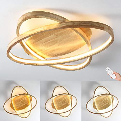 LED Deckenleuchte Holz Deckenlampe Ø52cm Runde Dimmbar mit Fernbedienung 2-Ring Modern 50W Dekor Wohnzimmer-Lampe, Ultradünne Oval Schlafzimmer Deckenlicht, Acryl-Schirm Decke Licht Holzlicht