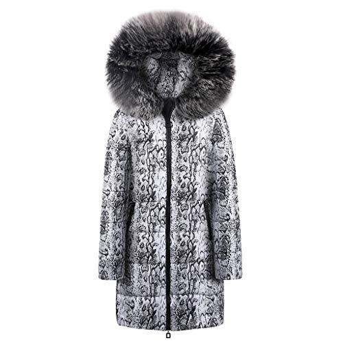 BOLANQ Plüschmantel Mantel, Damen Winter Long Down Cotton Snake Print Parka Kapuzenmantel Jacke Outwear(Large,Schwarz)