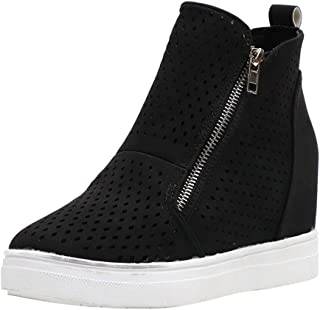 ONLY TOP Womens Wedgie Sneakers Platform High Top Wedge Booties Slip on Heeled Hollow Out Ankle Boots