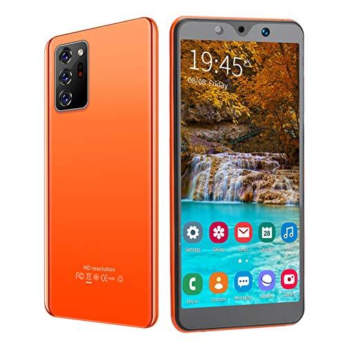 Teléfono celular desbloqueado, 512 MB + 4 GB, pantalla Full HD de 5,72 pulgadas, batería de 1650 mAh, cámara dual de 2 MP + 5 MP, SIM dual, teléfono inteligente con reconocimiento facial(naranja)