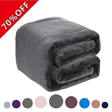 DREAMFLYLIFE Fleece Blanket 380 GSM Anti-static Super Soft Lightweight Summer Cooling Warm Fuzzy Bed Blanket Couch Blanket (Queen, Dark Grey)