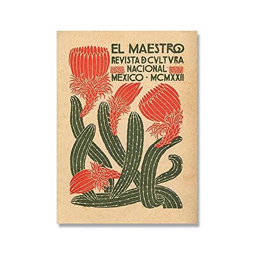 El Maestro cartel de cactus vintage e impresión de arte mexicano cuadro de arte de pared hogar sin marco pintura decorativa en lienzo A3 50x70cm