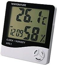 Termômetro higrômetro relógio digital parede e mesa