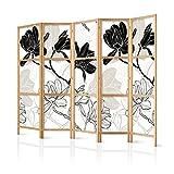 murando - Biombo XXL Flores 225x171 cm 5 Paneles Lienzo de Tejido no Tejido Tela sintética Separador Madera Design de Moda Hecho a Mano Deco Home Office Japón p-B-0011-z-c