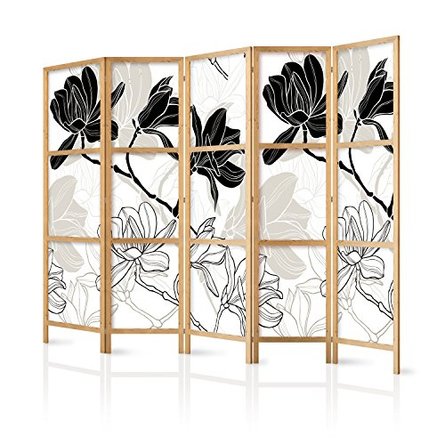 murando - Paravent XXL Blumen 225x171 cm 5-teilig einseitig eleganter Sichtschutz Raumteiler Trennwand Raumtrenner Holz Design Motiv Deko Home Office Japan p-B-0011-z-c