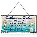 Seashell Bathroom Decor Funny Bathroom Rules Signs Beach Themed Ocean Bathroom Wall Art Farmhouse Vintage Seashells Door Decor with Diamond-Studded Starfish, Beach Wall Plaque Sign (10 x 5 Inch)