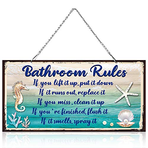 10 x 5 Inch Bathroom Rules Decor Metal Hanging Vintage Design Seashells Bathroom Rules Door Wall Plaque Decor Sign with Diamond-Studded Starfish, If It Smells Spray It... Sign Plaque Wall Decorative