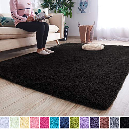 Noahas Super Soft Modern Shag Area Rugs Fluffy Living Room Carpet Comfy Bedroom Home Decorate Floor Kids Playing Mat 4 Feet by 5.3 Feet, Black