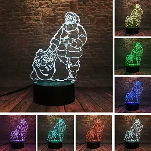BFMBCHDJ Navidad Navidad Papá Noel con regalos 7 Lámpara de color 3D...