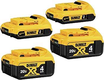 4-Pack Dewalt 20V MAX Lithium Ion 4-Ah & 2-Ah Battery
