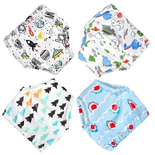 Flyish Lot de 4 culottes d'apprentissage étanches pour bébé de 1 à 2,5 ans, 4 pièces, 90, 100, 110, 120 - - 4 ans
