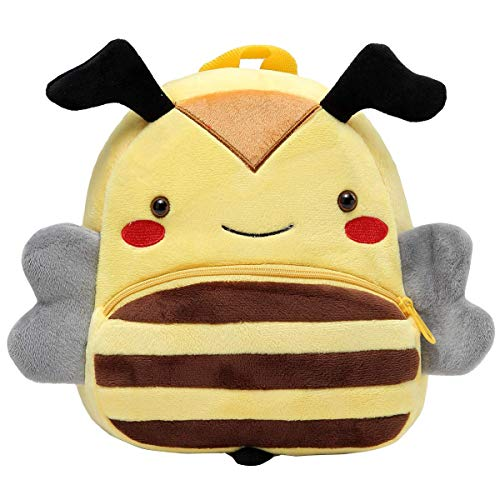 Backpack for Boys and Girls, Kasgo Small Cute Animal 3D Mini Kids Kindergarten Rucksack Soft Plush Children Backpack for Baby Yellow Bee