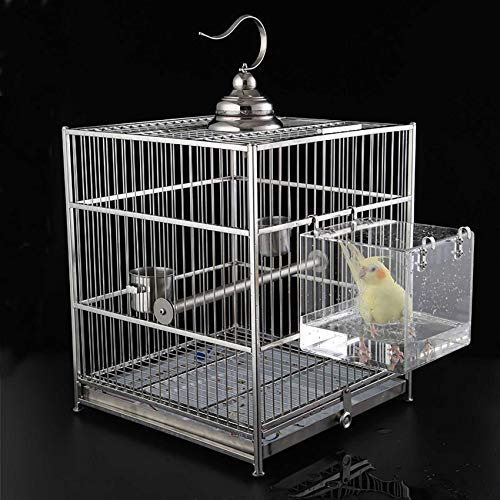 Enoyoo Bird Bath Cage, Cleaning Pet Supplies Cockatiel Bird Bathtub with Hanging Hooks for Little Bird Parrots Spacious Parakeets Portable Shower for Most Birdcage