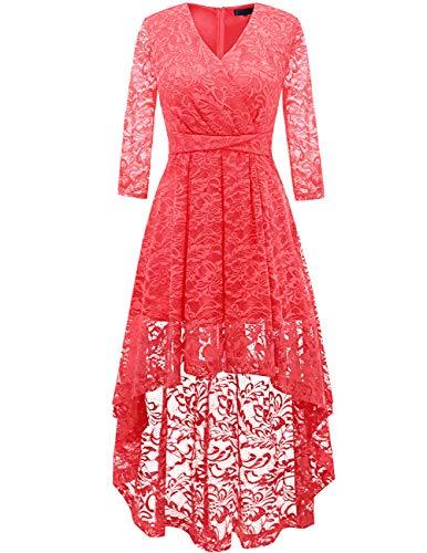 DRESSTELLS Abendkleider elegant Cocktailkleid Unregelmässig Spitzenkleid Vokuhila Floral Kleid Coral 2XL