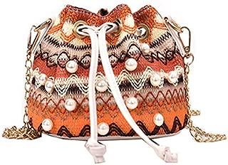 TOOGOO Casual Women'S National Wind Grass Bag Chain Woven Shoulder Bag Pearl Messenger Bag Shoulder Beach Bag Purple