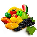 Confezione di frutta artificiale,frutta finta per decorazioni per la casa,decorazione natalizia per feste,modello di frutta per servizio fotografico,fragola finta,mango,banane.Totale14pezzi/set