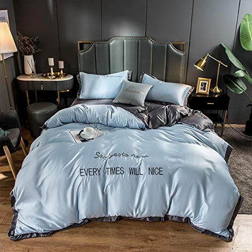 geek cook Duvet Sets Double,2020 matching washed ice silk silk four-piece set bedding solid color letter embroidery embroidery kit-Light gray fight dark gray_2.0m bed sheet quilt 220 * 230