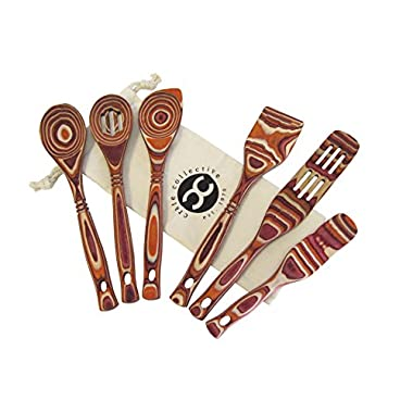 Exotic Pakkawood 6-Piece Kitchen Utensil Set with 12-in Spoon, 12-in Slotted Spoon, 12-in Spatula, 12-in Corner Spoon, 13-in Large Spurtle, 9-in Small Spurtle - by Crate Collective (Sunrise)