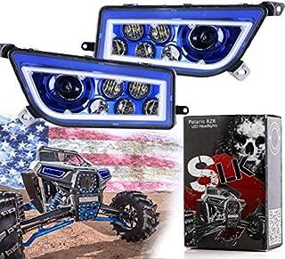 SLK-Customs RZR LED Headlight compatible with Polaris General, Polaris RZR 900s, Polaris razor 1000 XP Turbo (Fits: 2015-2019) (Blue/Blue Halo)