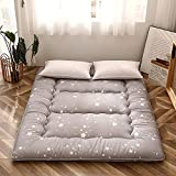 Grey Constellation Japanese Floor Futon Mattress, Tatami Floor Mat Portable Camping Mattress Kids Sleeping Pad Foldable Roll Up Floor Lounger Couch Bed with Mattress Protector Twin Size