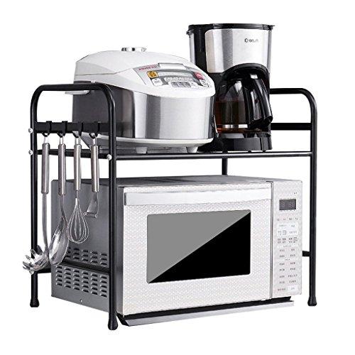 Storage rack. Küchenregale - Mikrowellengestelle, wandmontierte Ofengestelle, tragend (Farbe : Black, größe : 53 * 53cm)