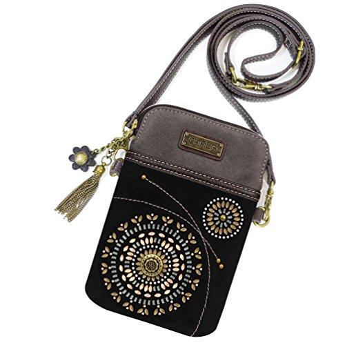 CHALA Crossbody Cell Phone Purse | Women's Wristlet Handbags with Adjustable Strap (Starburst - Black)