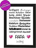 Personalisiertes Vatertagsgeschenk Poster DIN A4 Papa, Grillgott, Geisterjäger, gerahmt mit...
