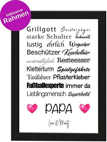 Personalisiertes Vatertagsgeschenk Poster DIN A4 Papa, Grillgott, Geisterjäger, gerahmt mit schwarzem Bilderrahmen, Vatertag, Poster mit Rahmen, Weihnachten, Personalisierbare Poster (Papa)