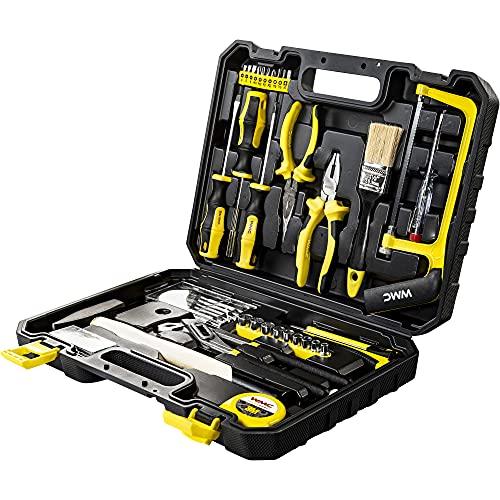 WMC TOOLS Werkzeugkoffer Werkzeug Set 102 teilig für Kfz Haushalt mit Schraubendreher Werkzeugset Werkzeugkasten 1/4 Zoll Steckschlüsselsatz Werkzeugkoffer Haus Garten Werkstatt