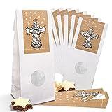 25 kleine weiße Papiertüten Weihnachtstüten für Gebäck MIT FENSTER und Pergamin-Einlage (7 x 4...