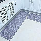 Tsosginaog Kitchen Mat Set, 2 Piece Non-Slip Waterproof Kitchen Rugs Bath Mat Doormat Oil Proof Area Rug Anti Fatigue Kitchen Floor Mat,N,5080+50150