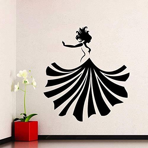 56X90Cm Ragazza Applique da parete in vinile Vestito da ballo per ragazza Moda Beauty Shop Murale Adesivo Salone Abbigliamento Negozio Decorazione camera da letto