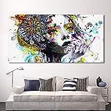 N / A Pintura sin Marco Modern Canvas Art Girl with Flower Wall Imagen Modular decoración del hogarZGQ7087 20x40cm
