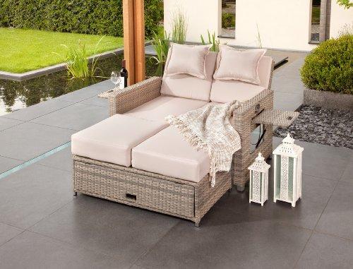 greemotion Rattan-Lounge Bahia Twin, Sofa & Bett aus Polyrattan, indoor & outdoor, 2er Garten-Sofa mit Stahl-Gestell, Daybed zweigeteilt, grau-bicolor - 2