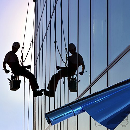 TipTopCarbon 6,57€/m² Fenster Spiegelfolie Blau Sichtschutzfolie 152cm Breite Fensterfolie Spion Design Folie Selbstklebend