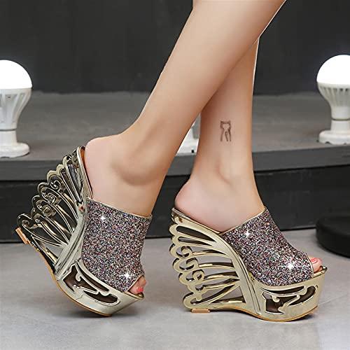 ZFLSGWZ Sandalias para Mujer Sexy tacón Alto Pendiente de Oro Plata Personalidad Forma Zapatos Sandalias Zapatillas (Color : Gold, Shoe Size : 35)