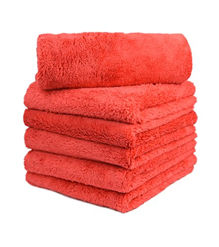 CARCAREZ Microfiber Car Wash Drying Towels Professional Grade Premium Microfiber Towels for Car Wash Drying 450GSM 16 in.x 16 in. Pack of 6 (6 Pack, Red)