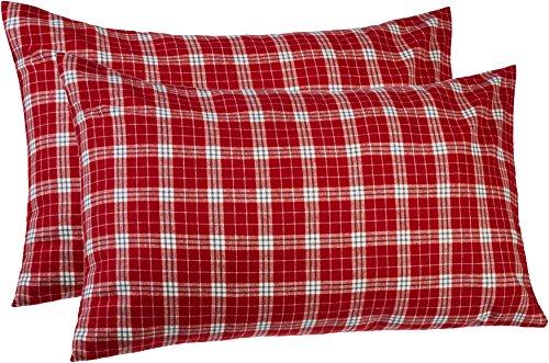 Amazon Brand – Pinzon 160-Gram Plaid Flannel Cotton Pillowcases, Set of 2, King, Bordeaux Red Plaid