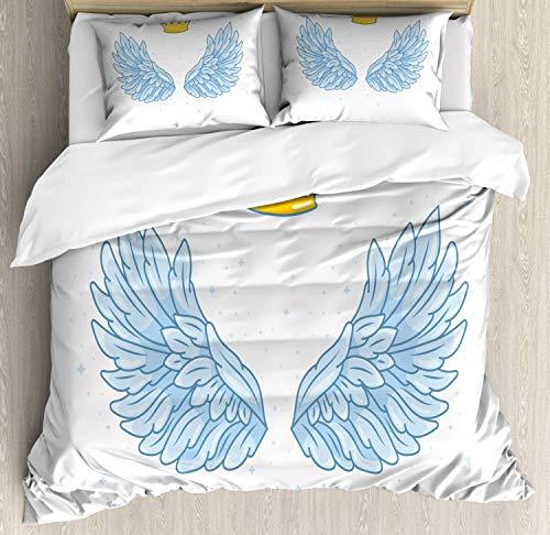 Juego de Fundas nórdicas de Dibujos Animados, alas de ángel amplias con Corona de Tono Amarillo Dorado Arriba, Juego de Cama Decorativo de 3 Piezas con 2 Fundas de Almohada, Mostaza Azul bebé