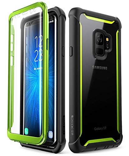 i-Blason Funda Galaxy S9 [Ares] 360 Grados Case Transparente Carcasa con Protector de Pantalla Integrado para Samsung Galaxy S9 2018 Verde