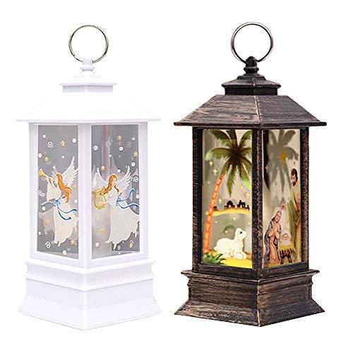 Weihnachts-Außenlichter-Sale, 2 Stück Weihnachtskerzen mit LED-Teelicht, Kerzen ohne Feuer, Lampe mit Engel und Jesus, LED-Lichter für Weihnachtsparty, Themendekoration, Geschenk