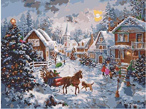 Wimaha Malen Nach Zahlen für Erwachsene und Kinder, DIY Handgemalt Ölgemälde Weihnachtsdeko (40x50cm)