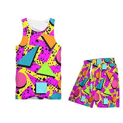 Juego de chándales Informales de Verano Conjunto de geometría 3D T Shirts T Shorts Traje para Hombres/Mujeres Hip Hop Streatwear TTSH02276 XL