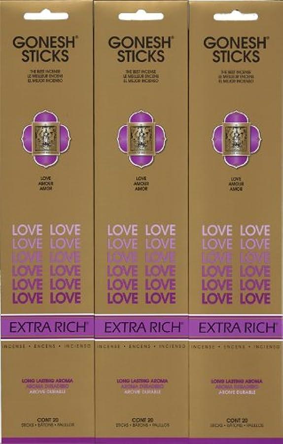豊富に心理的に投げ捨てるGONESH LOVE ラブ スティック 20本入り X 3パック (60本)