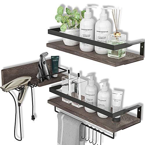 LYNNC 3 in 1 Rustic Floating Shelves, Decorative Storage Shelves with Towel Bar, Wall Mounted Shelves Holder for Bathroom, Kitchen & Bedroom - Set of 3 Shelves
