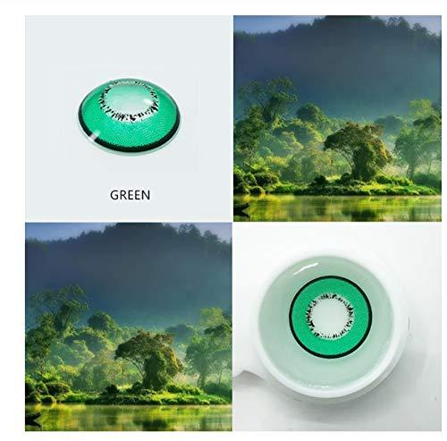 KANG-FANG, 1 Paar Farbige Kontaktlinsen Jahres Anwendung Kosmetik Kontaktlinsen Augenfarbe (2 Stück), 0.00 Dioptrien (Farbe : Grün)