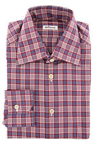Kiton Red Plaid Button Down Cutaway Collar 100% Cotton Slim Fit Dress Shirt, Size XXXX-Large 19