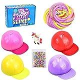 4 Pack Butter Slime Kit,Unicornio+Perla de Espuma+Sombrero Slime,elástico y no pegajoso súper Suave Juguete de Lodo para aliviar el estrés,Regalo para niñas y niños