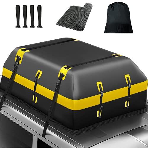 Dachbox PVC 15 Kubikfuß Auto Dachtasche Wasserdicht Dachkoffer Faltbare Gepäckbox mit Anti-Rutsch Matte +4 Türhaken, geeignet für alle Fahrzeuge mit/ohne Gepäckträger Gepäcktransport (Gelb)